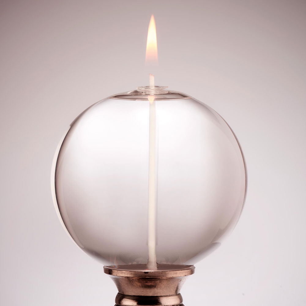 LARGE CORKED ROUND GLASS CANDLE